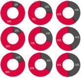 Uppsättning av diagram för cirkel 3d: 10% 15%, 20%, 25%, 30%, 35%, 40%, 45 Fotografering för Bildbyråer