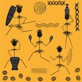 Uppsättning av diagramet roliga aboriginer Arkivbilder
