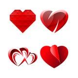 Uppsättning av diverse söta romantiska hjärtor Arkivbilder