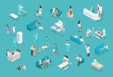 Uppsättning av djur och doktorer i veterinär- klinik stock illustrationer