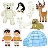 Uppsättning av djur och folk i arktisken Royaltyfria Foton