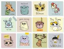 Uppsättning av djura kort för vektor för ungar royaltyfri illustrationer