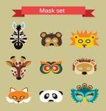 Uppsättning av djura maskeringar för dräktparti Royaltyfria Bilder
