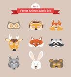 Uppsättning av djura maskeringar för dräktparti Arkivbilder