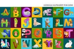 Uppsättning av djuralfabetet för ungebokstäver, rolig abc-utbildning för tecknad film i förträning, gulligt lära för barnzoosamli Arkivfoto
