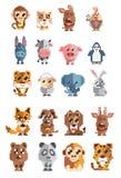 Uppsättning av djurPIXELet royaltyfri illustrationer