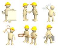 Uppsättning av docka-byggmästare i olikt läge royaltyfri illustrationer