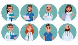Uppsättning av doktorer Sjukhuspersonal Avatars av medicinska arbetare royaltyfri illustrationer