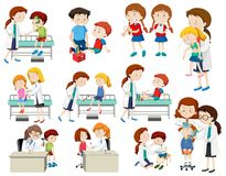 Uppsättning av doktorn som hjälper sjuka barn stock illustrationer