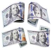 Uppsättning av 100 dollarsedlar på vit Arkivbild