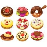 Uppsättning av donuts Arkivbild