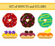 Uppsättning av donuts och eclairs Royaltyfri Foto