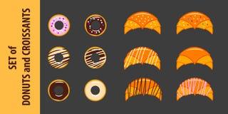 Uppsättning av donuts och giffel i plan stil Arkivbild