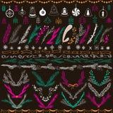 Uppsättning av drog blom- vektoruppsättningen för jul den hand Planlägg beståndsdelar, garnering, band, lager, etiketter, krans o royaltyfri illustrationer