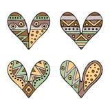 Uppsättning av drog dekorativa stiliserade barnsliga hjärtor för vektor hand Klotterstil, stam- grafisk illustration Dekorativ gu Royaltyfri Foto