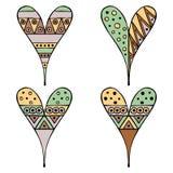 Uppsättning av drog dekorativa stiliserade barnsliga hjärtor för vektor hand Klotterstil, stam- grafisk illustration Dekorativ gu Royaltyfria Foton
