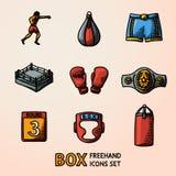 Uppsättning av drog färgsymboler för boxning hand - handskar, kortslutningar, hjälm, runt kort, boxare, cirkel, bälte, stansmaski stock illustrationer