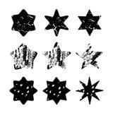 Uppsättning av drog isolerade stjärnor för svart hand, Royaltyfria Bilder