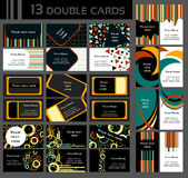 Uppsättning av 13 dubbla affärskort som är färgrik Royaltyfri Fotografi