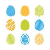 Uppsättning av easter ägg. Arkivfoto
