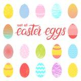 Uppsättning av easter olika färgrika ägg vektor illustrationer