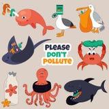 Uppsättning av Eco djur Stoppa havföroreningbegreppet royaltyfri illustrationer