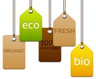 Uppsättning av eco och organiska etiketter Royaltyfri Bild