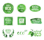 Uppsättning av Eco, organiska naturliga vattenfärgklistermärkear Arkivfoton