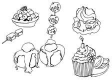 Uppsättning av efterrätter i vektor Klottra stil royaltyfri illustrationer