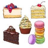 Uppsättning av efterrätter - muffin, choklad och vanilj bakar ihop, ostkaka, makron vektor illustrationer