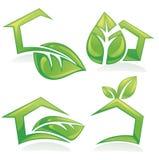 uppsättning av ekologiska hus och hem, symboler, tecken Royaltyfria Bilder