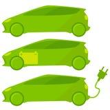 Uppsättning av ekologiska tre, gröna bilar Royaltyfri Fotografi