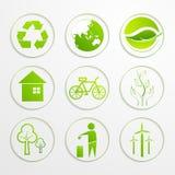 Uppsättning av ekologiskt tecken och symboler Arkivfoto