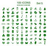 Uppsättning 5 av 100 ekologisymboler - lagerföra vektorn vektor illustrationer