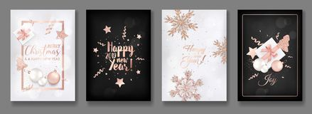 Uppsättning av elegant glad jul och kort för nytt år 2019 med att skina Rose Gold Glitter Christmas Balls, stjärnor, snöflingor royaltyfri illustrationer