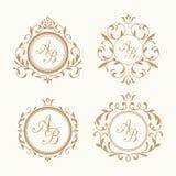 Uppsättning av eleganta blom- monogram Royaltyfri Foto