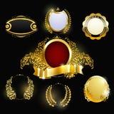 Uppsättning av eleganta guld- etiketter Arkivfoto