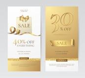 Uppsättning av eleganta vertikala baner med den pappers- shoppingpåsen, den guld- pilbågen och bandet Arkivfoto