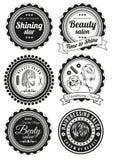 Uppsättning av emblem för skönhet och haidressing salonger stock illustrationer