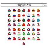 Uppsättning av emblem för världsflaggarunda askfat 10 eps vektor illustrationer