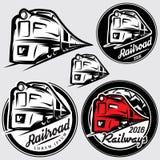 Uppsättning av emblem i retro stil med lokomotiv och järnväg royaltyfri illustrationer