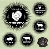 Uppsättning av emblem med olika husdjur och fåglar Arkivfoto