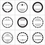 Uppsättning av emblem och emblem stock illustrationer