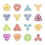 Uppsättning av emblem och etikettbeståndsdelar Färgrika geometriska logoformer Modern linjär design Royaltyfri Foto