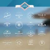 Uppsättning av emblem och etiketter för skaldjur Arkivfoton
