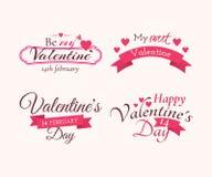 """Uppsättning av emblem och etiketter med för Valentine's för titel """"Happy  dayâ€, """"Be min Valentine† och """"My söt Valen Royaltyfria Foton"""