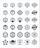 Uppsättning 30 av emblemet Logo Design Template för sexhörningstappningHipster Arkivbild