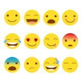 uppsättning 12 av emojis Royaltyfri Foto