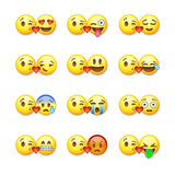 Uppsättning av emoticons, emoji som isoleras på vit stock illustrationer