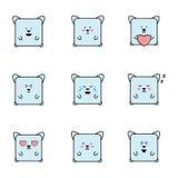 Uppsättning av emoticons med kattpersonaje Stock Illustrationer
